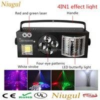 Niugul светодио дный 4in1 световой эффект светодио дный огни бабочки + RG лазер + 4 глаза шаблоны свет + белый мерцающий DMX512 KTV клуб Дискотека DJ освещ