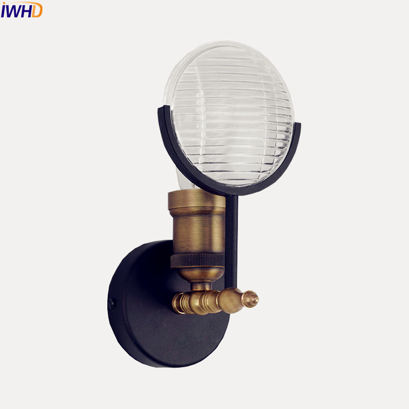IWHD Industrial Vintage Wall Light Fixtures Stair Beside Creative Glass Edison Wall Lamp Sconce Arandelas Lamparas De Pared iwhd loft style creative retro wheels droplight edison industrial vintage pendant light fixtures iron led hanging lamp lighting