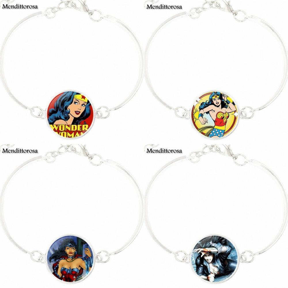 Супергерой чудо-Для женщин для женщин Винтаж себе браслет с серебряным покрытием Стекло кабошон браслет