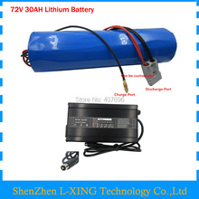 Free customs fee 72V 30AH lithium battery 72V cylinder-shape battery pack use for samsung 3500mah cell 50A BMS with 4A Charger