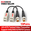 10Pairs Twisted BNC CCTV Passive Transceivers Cat5 CCTV UTP Video Balun For 720P AHD & HDCVI & TVI Camera Upto 660ft(200m) Range