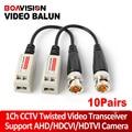 10Pairs Twisted BNC CCTV Passive Transceivers Cat5 CCTV UTP Video Balun For 720P AHD & HDCVI & TVI Camera Upto 660ft(200m) Range