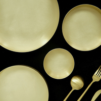SWEETGO Gold brass tray for cake dessert decorators brushed metal plate for home decorating bakeware photography props