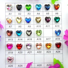 Glass Crystal Silver claw settings 7 Sizes Various colors mix heart shape Sew on rhinestone beads garments shoes diy accessories