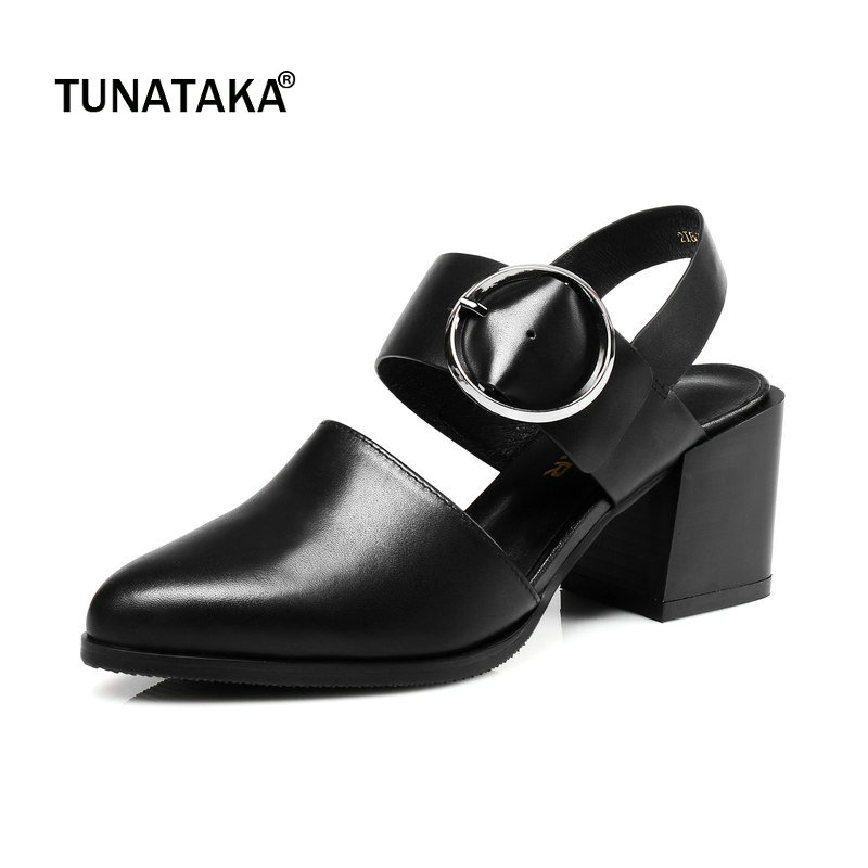 Woman Genuine Leather Pointed Toe Comfort Square High Heel Woman Sandals Fashion Buckle Dress High Heel Shoes Summer Woman Shoes smirnova 2018 summer new shoes woman pointed toe fashion rivet sandals women genuine leather med heels shoes square heel