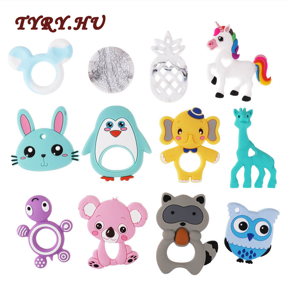 Tyry.hu 1pc Food Grade Silicone Koala Teether Beads Bpa Free For Baby Teething Raccoon Necklace Giraffe Pendant Penguin Toy Gift