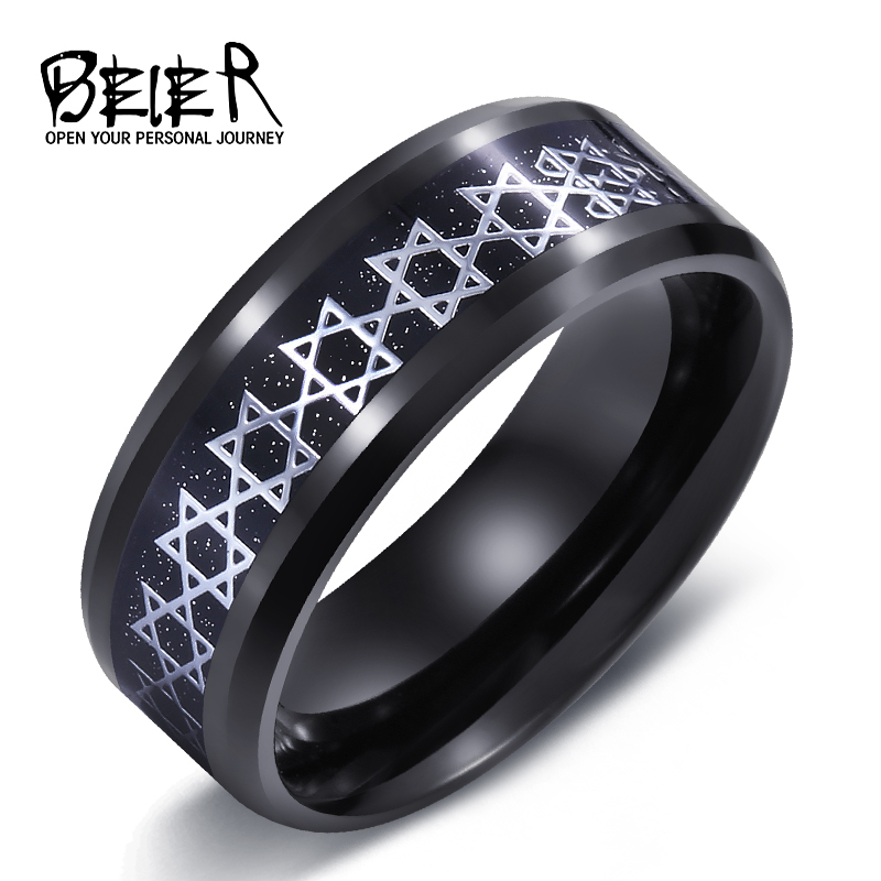 Beier New Store 316l Stainless Steel Ring David Of Star