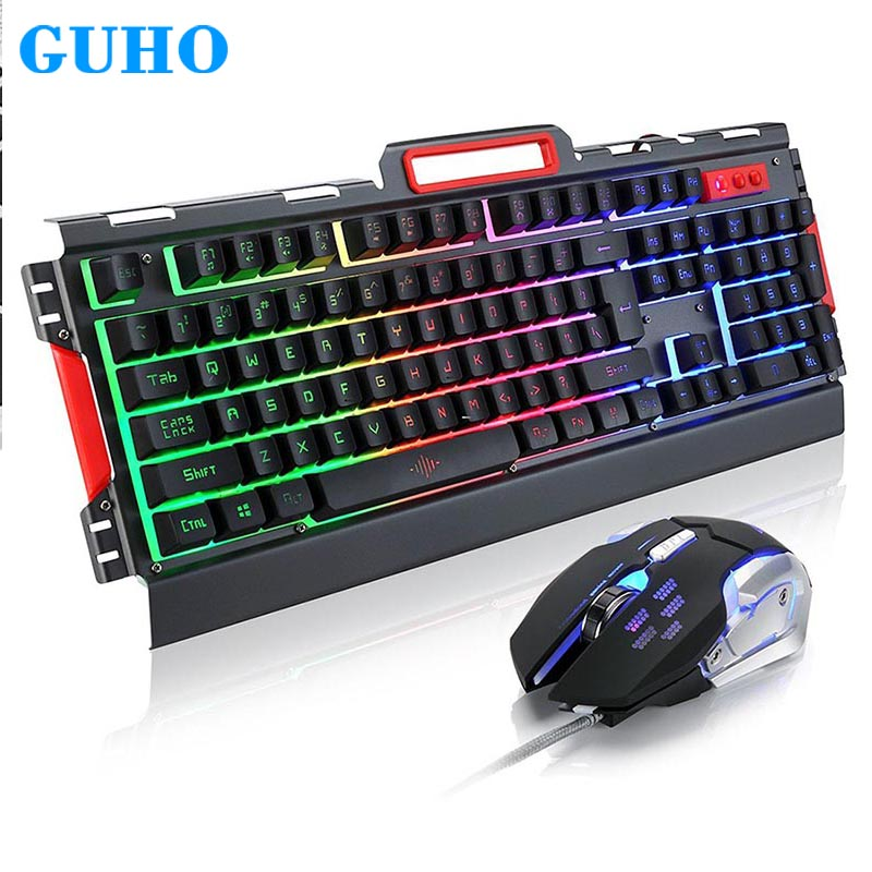 GuHO Wired Gaming Metal Keyboard Mouse Combos USB Ergonomic LED Gamer Keyboard+3200 DPI Optical Mouse for Xiaomi Gaming Mouse rainbow yellow led backlight usb wired pro gaming keyboard gamer keyboard 6 buttons 3200 dpi pro gaming mouse gamer mice