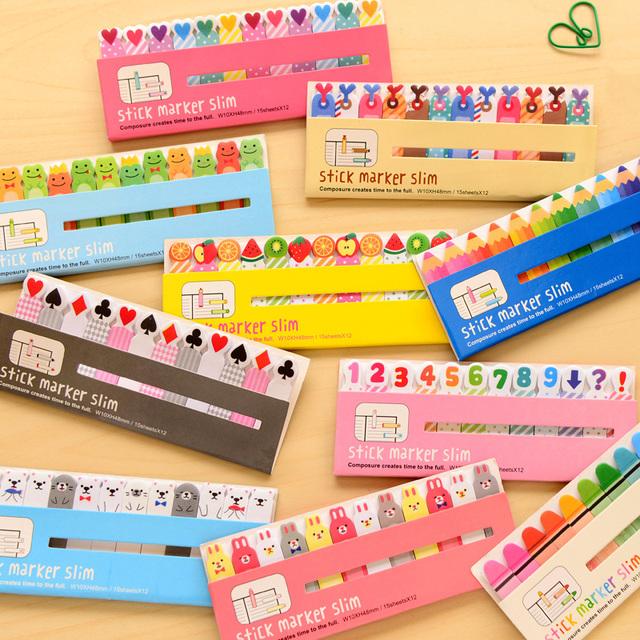 Envío Gratis Kawaii Lindo Post-It Bookmark Marker Memo pad Banderas Índice Tab sticky notes Etiqueta Pegatinas de Papel de Bloc de Notas papelería