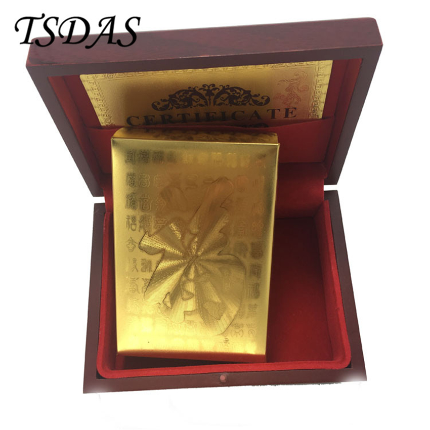 Durable 24k Gold Plated Playing Cards With Chinese Fu Style Adult Play Game Gold Foil Poker Card With Wooden Box Nice Gift