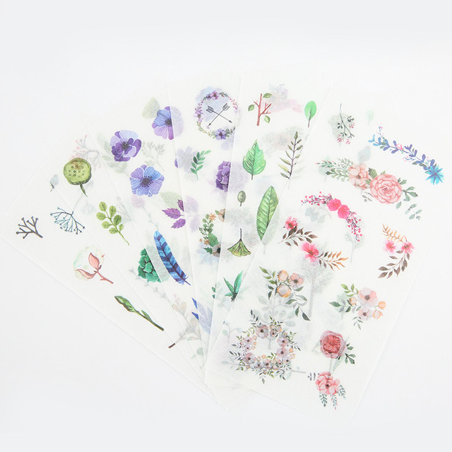6Sheets/Set Summer Leaves Plants Creative Decoration Scrapbooking Stickers Transparent PVC Stationery Planner Stickers 3