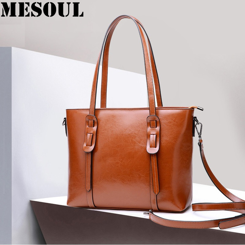 Ladies Genuine Leather Handbag Big Portable Shopping Bag Vintage Crossbody Bag Women Casual Tote Brand Designer Shoulder Bags women casual tote genuine leather handbag bag fashion vintage large shopping bag designer crossbody bags big shoulder bag female