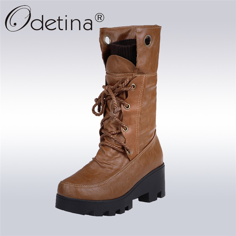Odetina 2017 Fashion Womens Mid Calf Boots Platform Thick Heels Lace-up Snow Boots Fur Chunky Heel Winter Warm Shoes Big Size 43 riding boots chunky heels platform faux pu leather round toe mid calf boots fashion cross straps 2017 new hot woman shoes