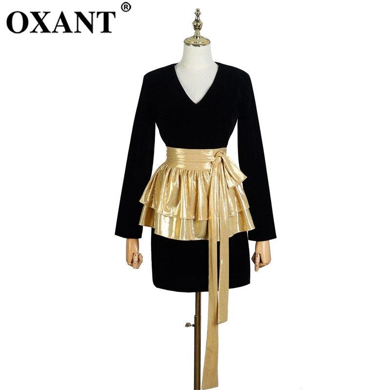 OXANT robe noire femme automne hiver col en v manches longues ceinture amovible ceinture taille or noir velours robe petite robe