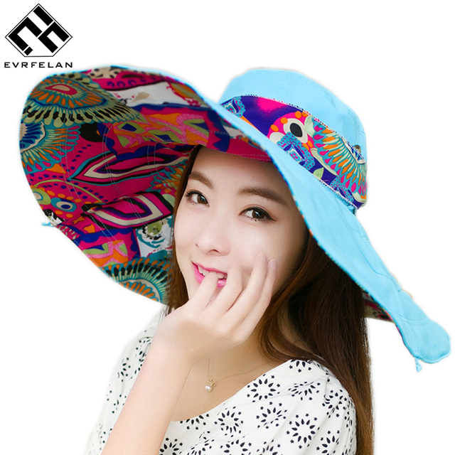 5cb43c728ddc2f New Fashion Bohemian Style High Quality Cloth Summer Sun Hat For Women Hat  Large Visors Beach Hat Brand Sun Cap
