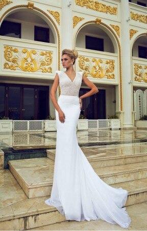 2016 V cou sirène robe de mariée Cap manches dos ouvert avec Train robe de mariée dentelle sur mesure C0104