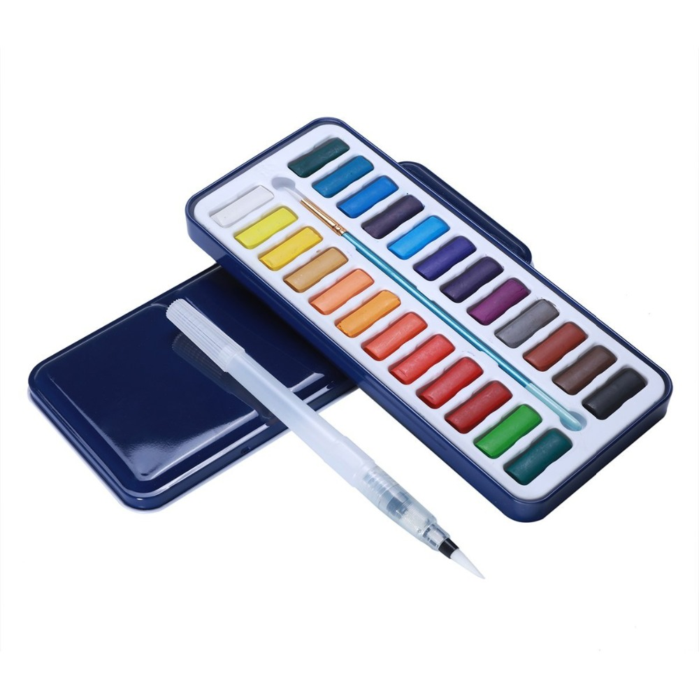 MEEDEN 24-Color Professional Watercolor Paint Set with Brush Pen & Water Brush Pen for Art Painting Supplies w110145 soft head fine water mark pen 48 60 color beginners painting professional equipment advanced ink student art suit