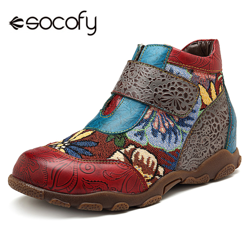Socofy Genuine Leather Ankle Boots For Women Shoes Woman Sneakers NEW Women Boots Retro Printed Hook&Loop Boot Tenis Feminino