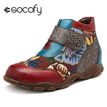 Socofy Genuine Leather Ankle Boots For Women Shoes Woman Sneakers NEW Women Boots Retro Printed Hook&Loop Boot Tenis Feminino - DISCOUNT ITEM  50% OFF All Category