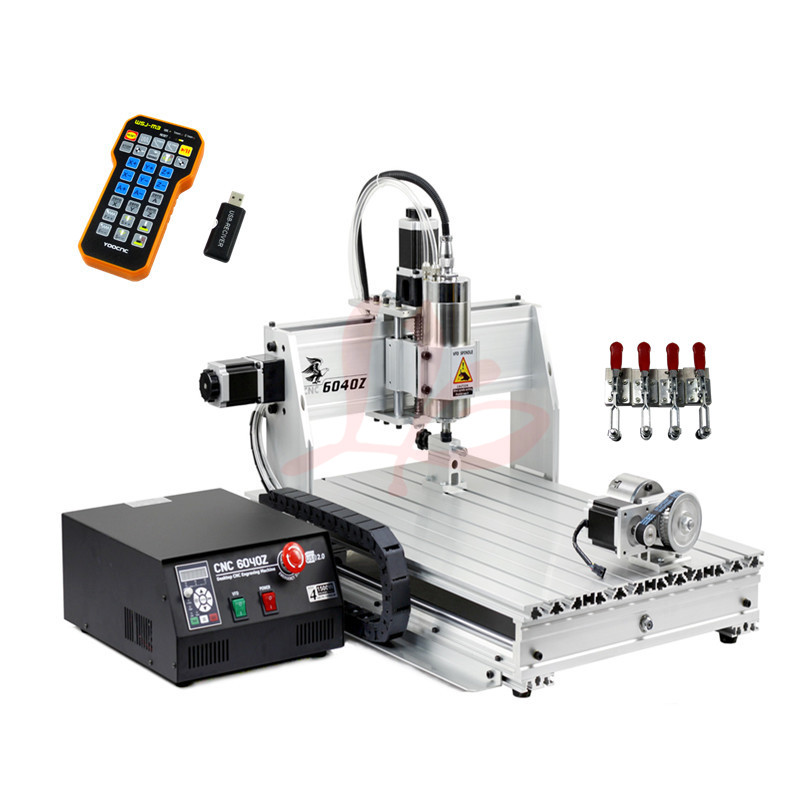 cnc cutting machine 4axis 6040Z USB 2.2KW spindle with mach3 remote control