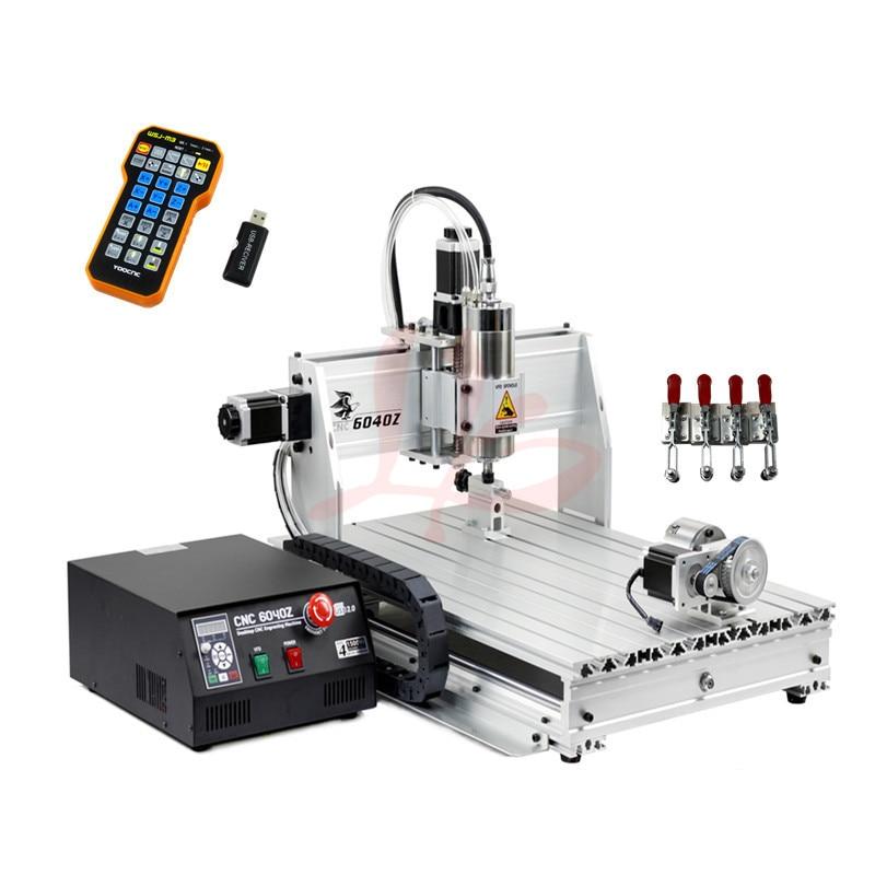 cnc cutting machine 4axis 6040Z USB 2.2KW spindle with mach3 remote control цены