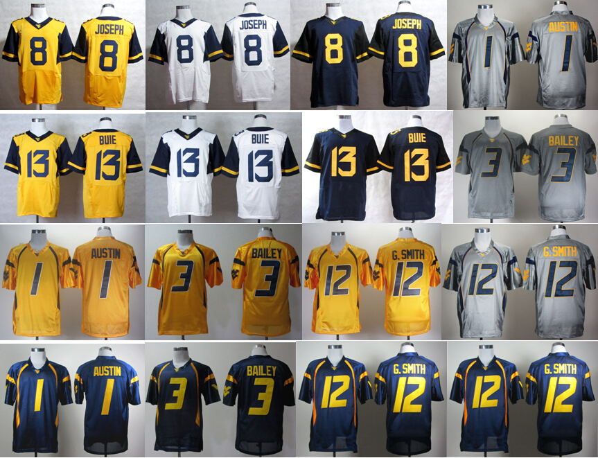 wholesale dealer 6e101 6c696 mens west virginia mountaineers 12 oliver luck gray ncaa ...