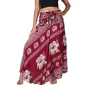 Women's Long Bohemian Hippie Red Skirt Elephant