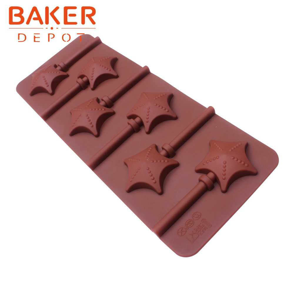 BAKER DEPOT lollipop Silicone della muffa per la caramella di cioccolato rotonda di cottura della torta stampi decorazione di una forma bakeware strumento di orso lolipops stampi