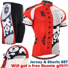 Life on Track Mens Red Bike Jerseys Set Cycling Shirts And Bicycle Padded Shorts Red White Black For Men