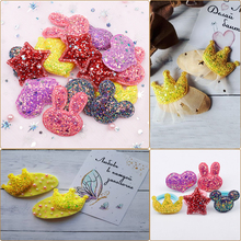 Cheer Bows Glitter Fabric Patches Star Heart Sequin Appliques Padded for Clothes Stickers DIY Hair Clips Ornament 10pcs
