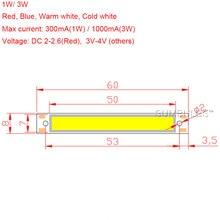 Sumbulbs 60x8mm 1W 3W Red Blue Cold Warm White COB Strip LED light Source Bar Lamp DIY Car Work Bicycle LED COB Lights DC 3-4V