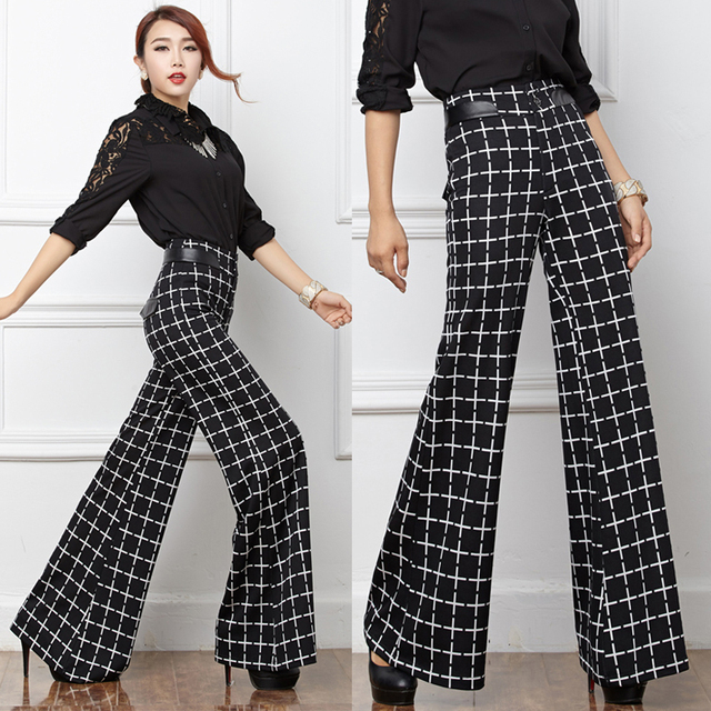eb33bac1fd European Style Winter Womens White Black Plaid Wide Leg Trousers , Elegant  High Waist PU Leather Patchwork Pants For Woman