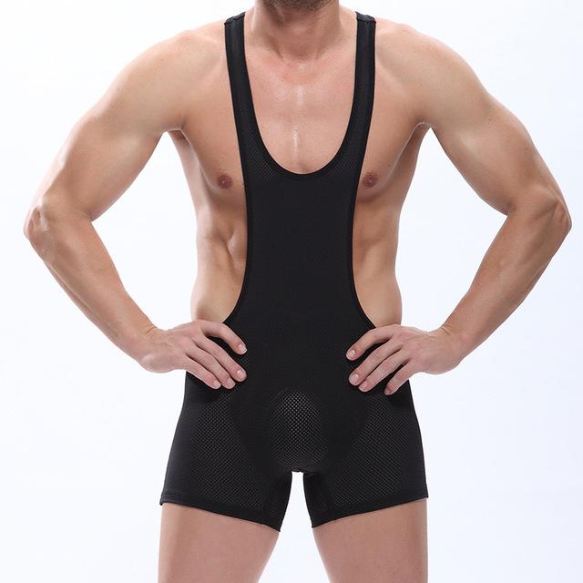 Malha Sexy translúcidas dos homens Bodysuit tanga Leotards Unitard Gay desempenho sutiã Wrestling Singlet roupa interior do sexo # 2