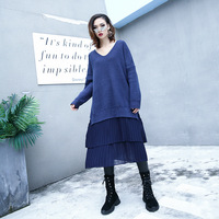 Winter Thicken Knitted Blue Dress Women New O Neck Long Sleeve Solid Warm Sweater Dress soft and Comfortable Causual Dress