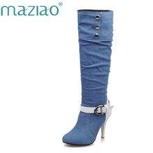 MAZIAO Tecido Denim Senhoras sapatos de Inverno botas de Outono Na Altura Do Joelho botas Pontas do dedo do pé Fivela de Fundo Pano Moda Casual Preto Quente