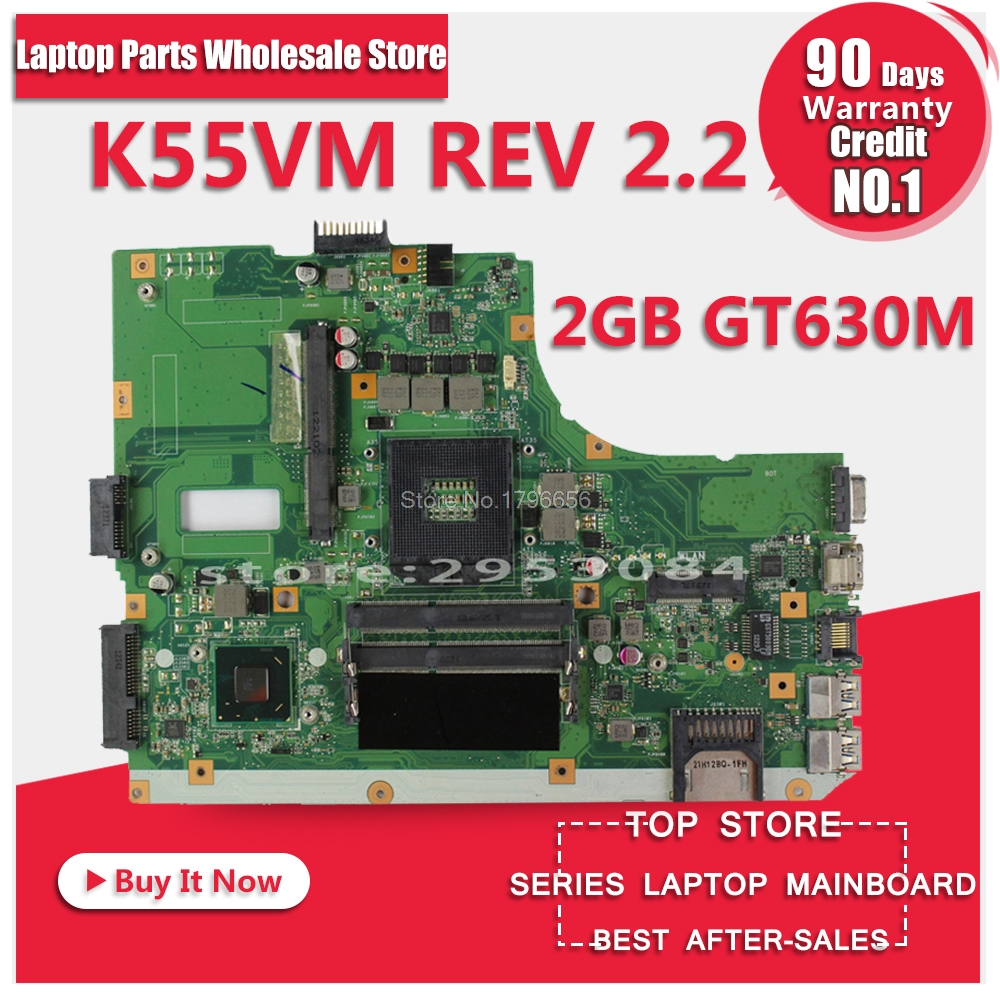 Laptop Motherboard For Asus K55VM K55VJ P/N:60NB00A0-MB2000 N0CV1242MB0078653 REV2.2or2.1 PM Mainboard Working Perfect