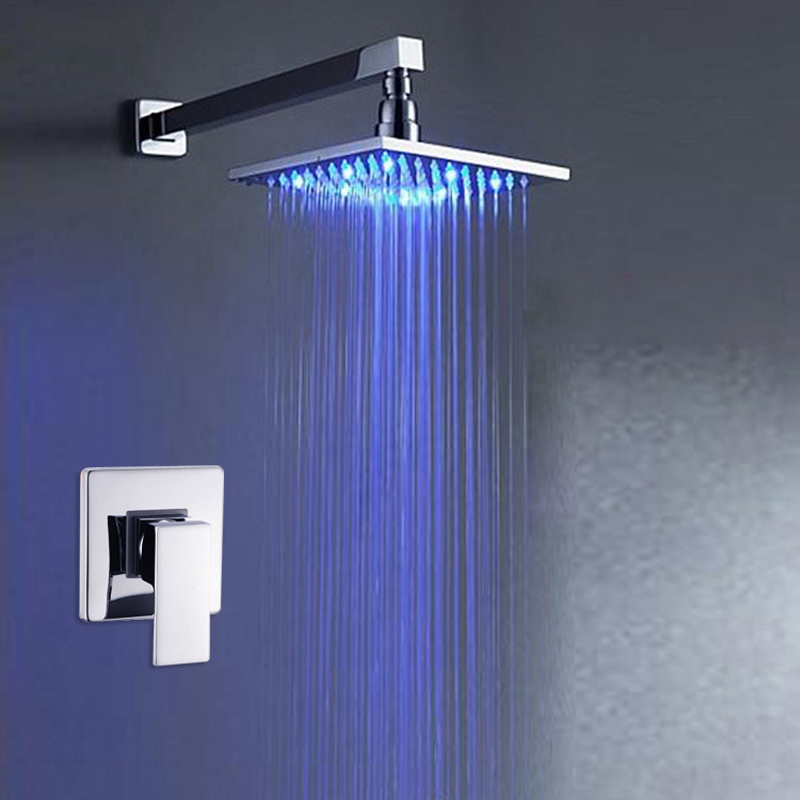 Polished Chrome Single Handle Wall Mounted Shower Mixer Taps 8 Rain LED Light Shower Head no need battery wall mounted two handle auto thermostatic control shower mixer thermostatic faucet shower taps chrome finish