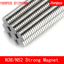 Jtengsys 100PCS neodymium 12x2mm N38 N52 Mini Small Disc Round Super Strong magnets 12x2 mm Rare Earth Neodymium Magnets 12*2mm