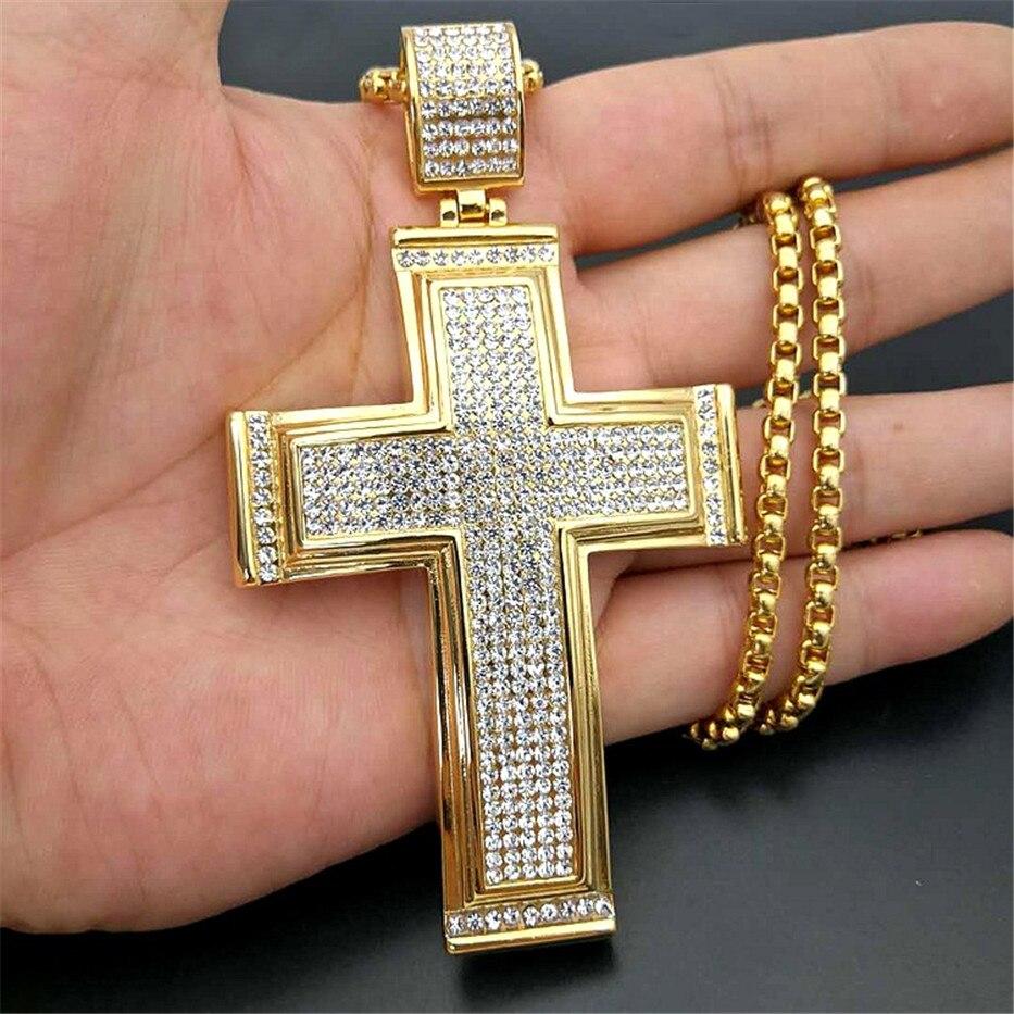 Hip Hop glacé grand croix pendentif collier pour hommes couleur or acier inoxydable strass collier Hiphop bijoux chrétiens