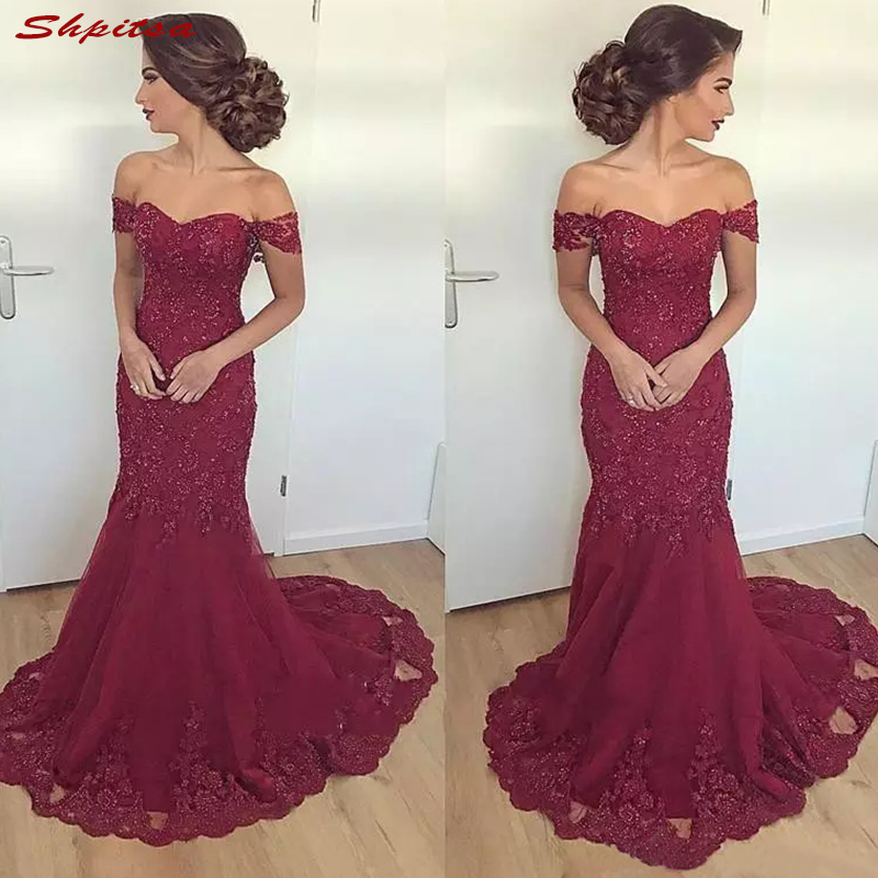 Burgundy Long Mother Of The Bride Dresses For Wedding Lace Mermaid Evening Prom Groom Dinner Dresses 2018