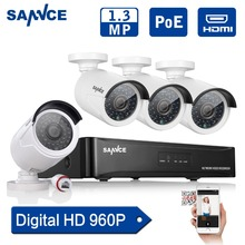 SANNCE 4CH POE CCTV System full HD 960P PoE CCTV Package NVR Recorder 1.3MP Residence outside IP Digicam 1280*960 Video Surveillance package