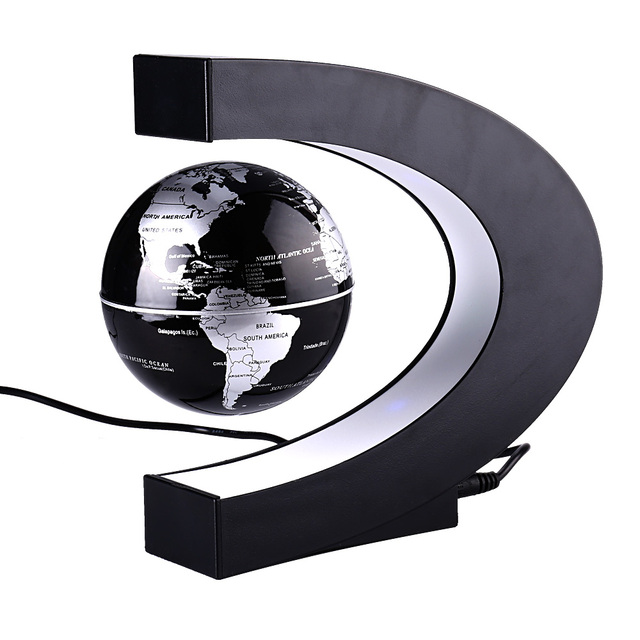 C shape black blue led world map decor home electronic magnetic c shape black blue led world map decor home electronic magnetic levitation floating globe antigravity led gumiabroncs Choice Image