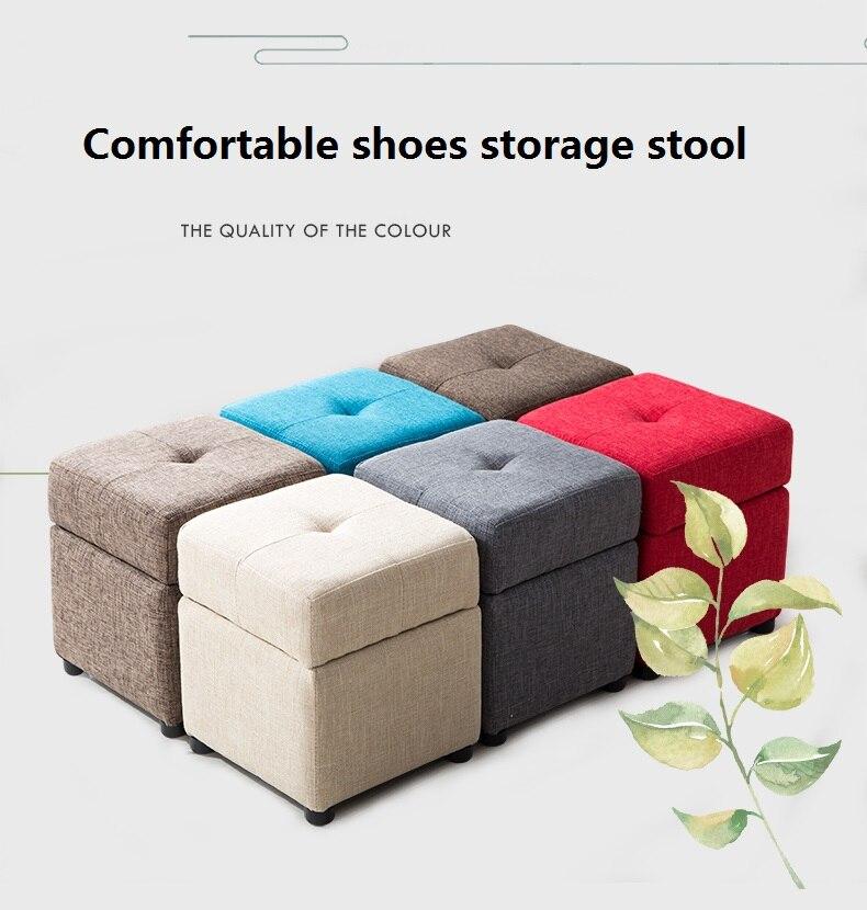 Comfortable Shoe Storage Stool Creative Sofa Stool Fabric Foot Stool