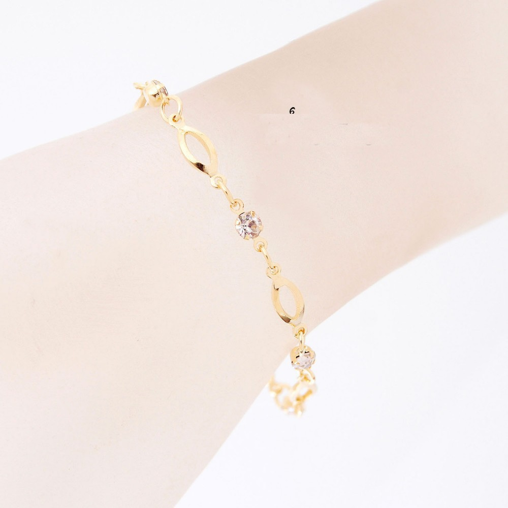 18 Fashion Crystal Charm Bracelets for Women Gold Color Link Chain Cuff Bracelet Bangles Jewelry pulseras valentines day gift 2