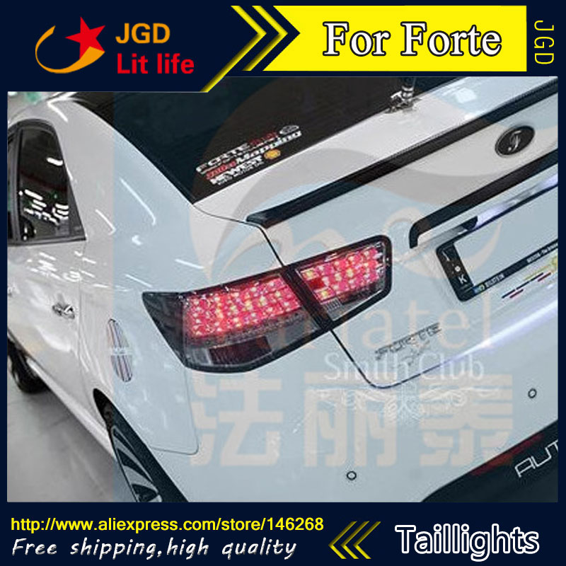 Car Styling tail lights for KIA Forte LED Tail Lamp rear trunk lamp cover drl+signal+brake+reverse car styling tail lights for hyundai santa fe 2007 2013 taillights led tail lamp rear trunk lamp cover drl signal brake reverse