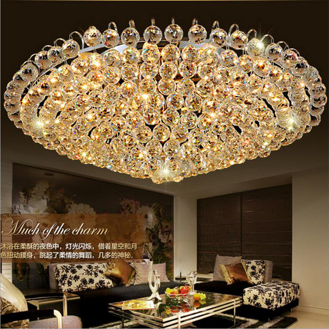 Living Room Lamp Hotel Lighting Golden Traditional Lamps LED Crystal  Ceiling Lighting Led Lighting Fixture Golden