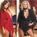 Women Sexy Chiffon sleepwear robe Deep V bare-breasted Large red Chinese knot Chiffon sexy sleep shirt