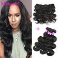 Peruvian Body Wave With Frontal Closure Peruvian Virgin Hair Body Wave 3 Bundles  With 1 PCs  Ear To Ear Lace Frontal Closure