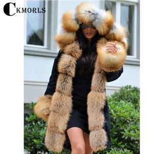 Image 2 - CKMORLS 2018 New Natural Fox Fur Jackets For Women Fur Parkas Casual Streetwear Harajuku Goth Long Coat Plus Size Long Fur Parka