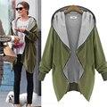 Плюс размер 5XL Женщины тонкий верхняя одежда куртки капюшоном молния вверх толстовки женщин с длинными рукавами армия зеленый топы hoddies пальто куртки